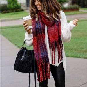 Oversized plaid blanket scarf worn once